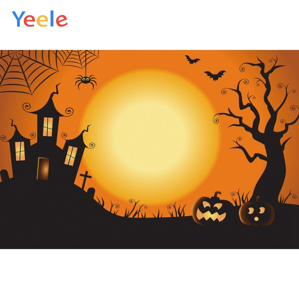 Yeele Halloween Night Moon Spider Forest Castle Bat Photography Backgrounds Customized Photographic Backdrops For Photo Studio