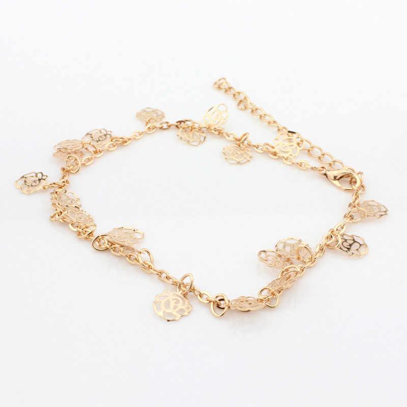 OTOKY łańcuszek na kostkę 2019 Hot złoto kolor obrączki z wycinanymi kwiatami róż bransoletka kostki kobiet plaża stóp biżuteria bransoletka dla kobiet 19May27