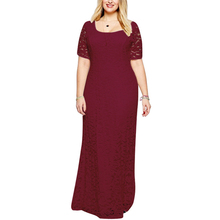 45b0a0b263d Womens Large Size XL-9XL Elegant Lace Dress O-neck Short Sleeve Long Dresses