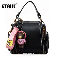 ETAILL Barrel Shaped PuLeather Women Bag Bucket Shoulder Bags Solid Famous Brand Small Women Handbag Set Tote Bolsas Feminina
