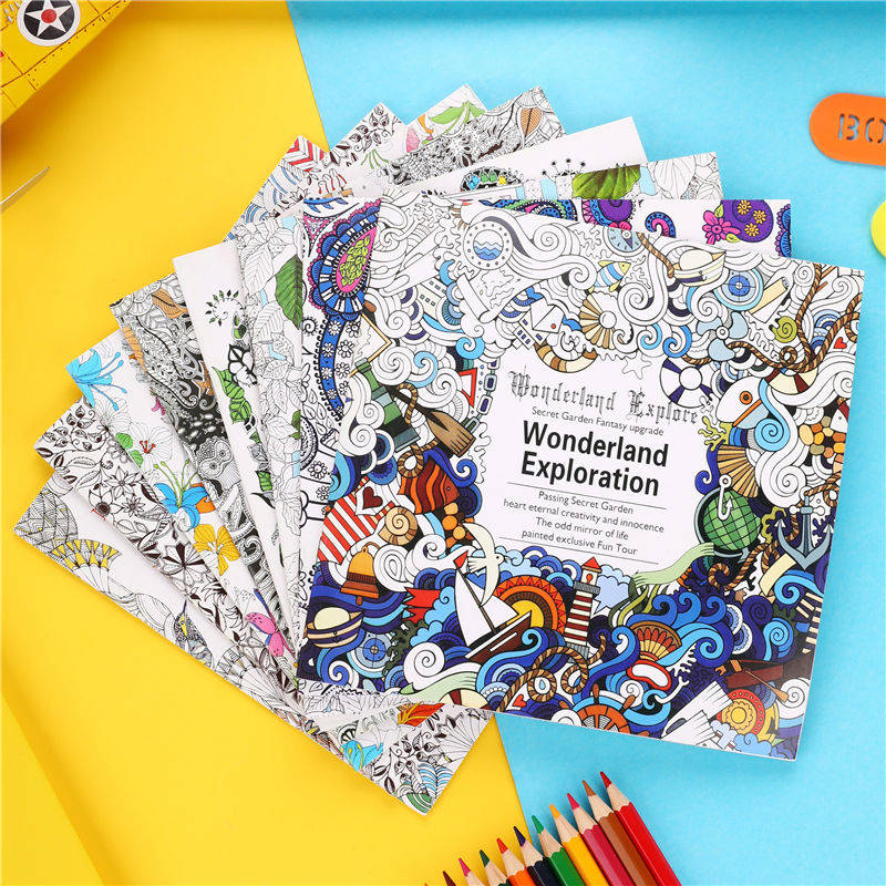 1 PC 24 Pages Relieve Stress Kill Time Painting Book Children Adult Artist Paint Drawing Book Creative Gift Art Supplies 03162