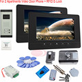 """For 2 Apartments Color 7"""" HD 700lines CCD Camera Color Video door phone systems Intercom Kit  Night Vision+RFID Electronic lock"""