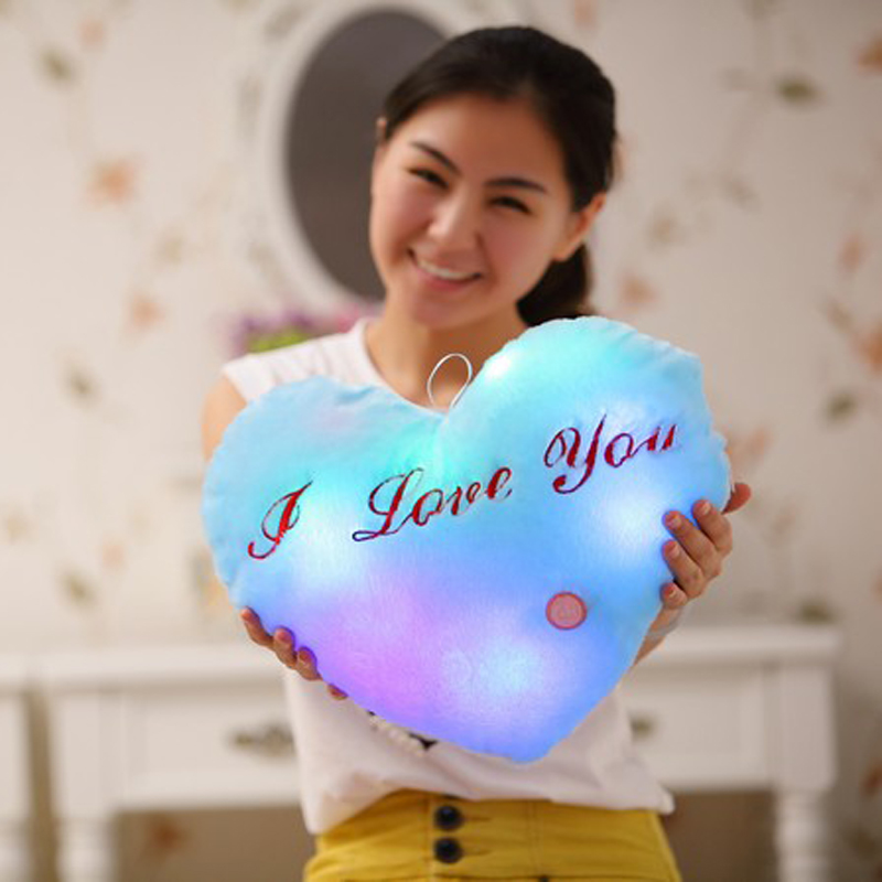 Led Heart Shaped Pillow Plush Light - Up Toys Glowing Toys with English Letter Kids Gift for Girl Friend Stuffed Pillow image