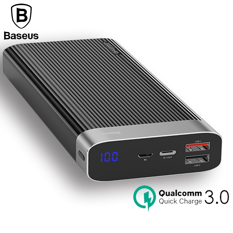 Baseus Portable 20000mah Power Bank Quick Charge QC3.0 Powerbank Mobile External Battery Power Bank For iPhone X 8 Samsung S9