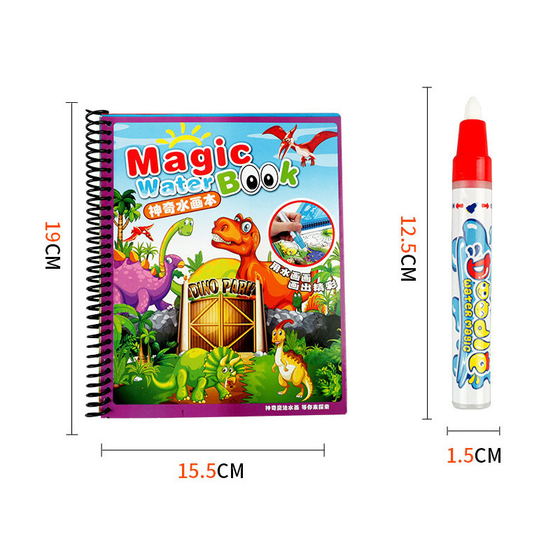Magic Water Drawing Baby Boek met Pen Educatief Speelgoed Baby Dieren Schilderen Schrijven Doodle Doek Kids Boek Tekentafel - 3