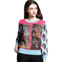 Brand 2017 Winter Tiger Patchwork Knitted Women Sweaters And Pullovers Fashion Long Sleeve O Neck Cotton