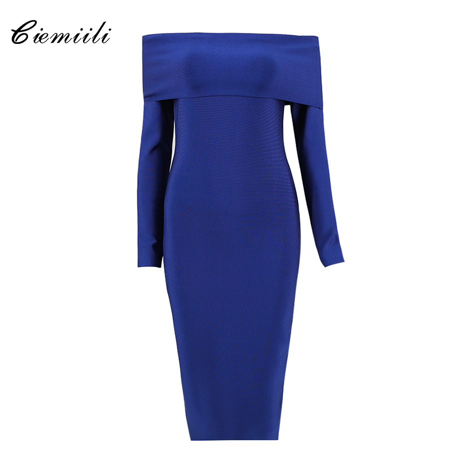 CIEMIILI Solid Off Shoulder Full Sleeves Bodycon Knee Length Women 2018 Party Sexy Bandage Slash Neck