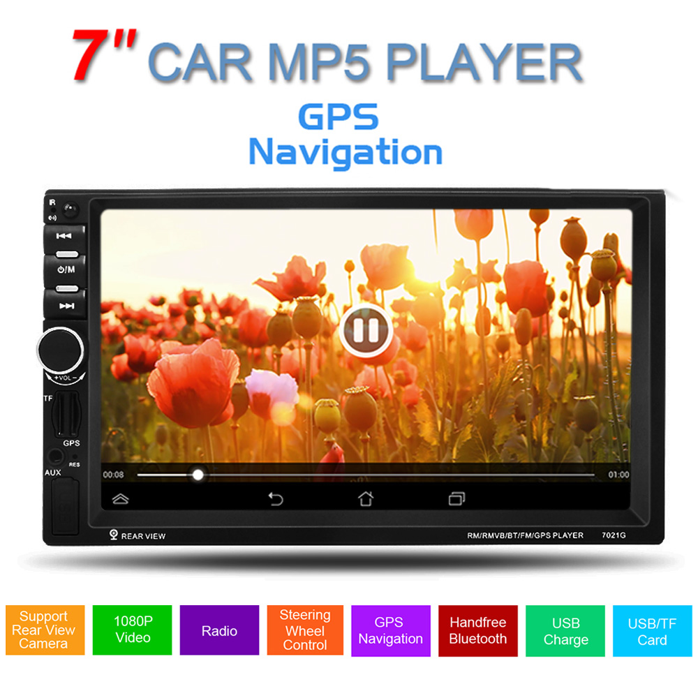 GPS 7inch 2 Din HD Touch Screen Support hands-free calls Car Stereo MP5 Player FM USB SD TF Bluetooth Radio 12v stereo 1 din car multimedia player fm radio mp3 mp4 player 3 6 inch touch screen bluetooth hands free calls sd usb charger