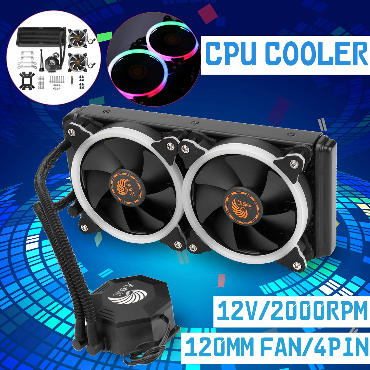 12V 2000RPM All-in-one LED Computer CPU Liquid Cooling Kit Radiator 2x120mm Fan 4Pin LED Light PC Case CPU Cooling Dual Fan 12v 1800rpm 3 pin pc cpu cooling fan heatsinks cpu radiator computer case fan for desktop 80mmx80mmx15mm