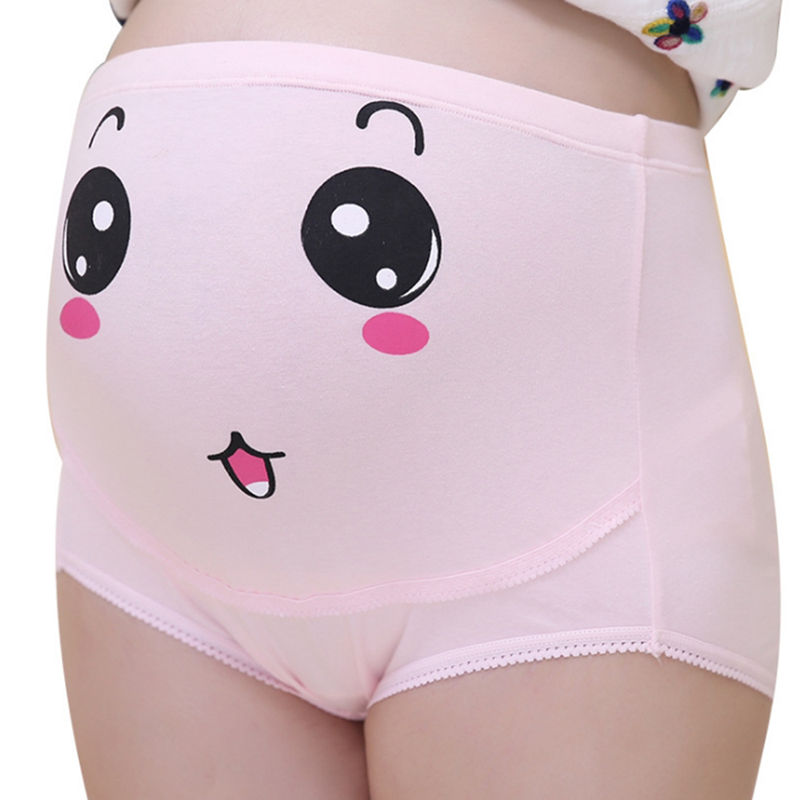 Loozykit Высокая талия живот поддержка беременных женщин нижнее белье мультфильм лицо шаблон трусики дышащий хлопок регулируемый нижнее белье - Цвет: Pink