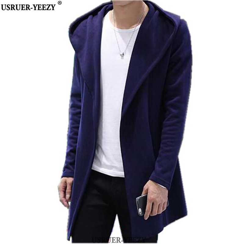 USRUER YEEZY Best Quality Men s Hooded With Black Gown Hip Hop Mantle Men Hoodies Sweatshirts