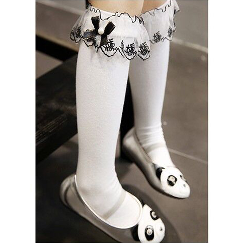 21e07b308 Girls Kids Lace socks long For Children Cute Cotton Knee high school sock  with bow Girl Spring Autumn solid princess white black-in Socks from Mother    Kids ...