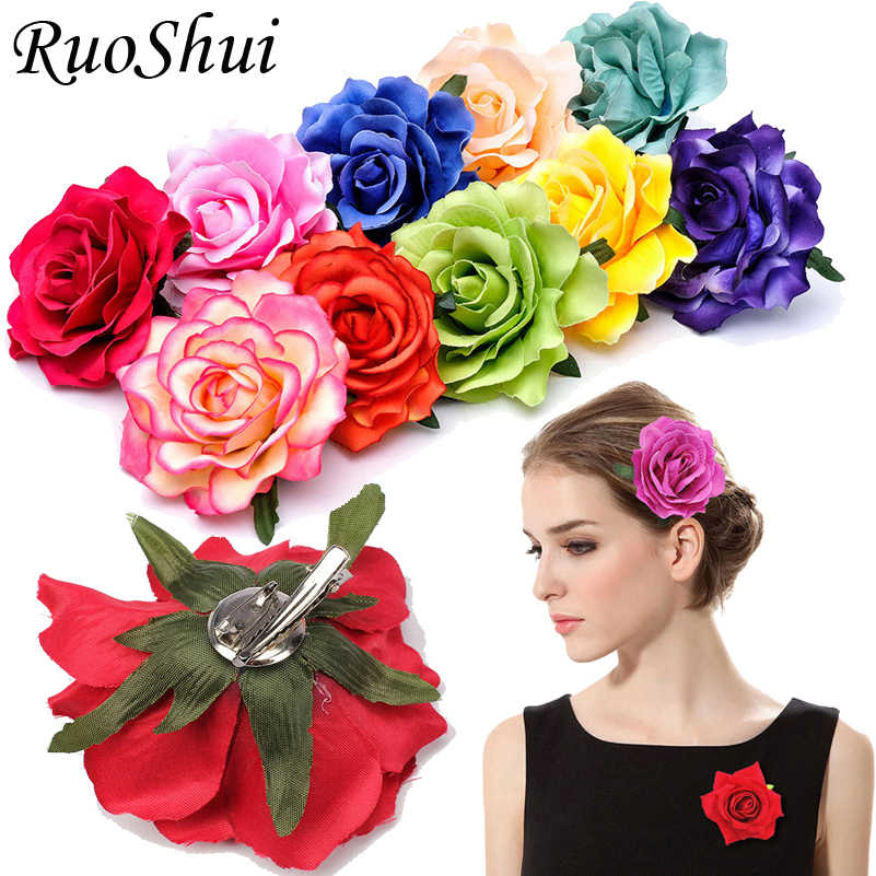 1PC Rose Artificial Flower Brooch Bridal Wedding Party Hairpin Women Hair Clips Headwear Party Girls Festival Hair Accessories