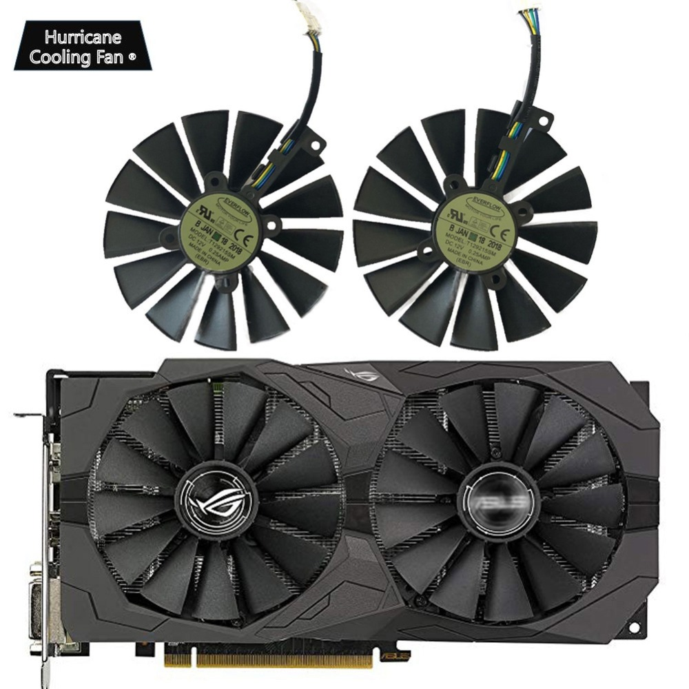 Image 2 - 95MM T129215SM 4Pin 12V Graphics Card Fan for ASUS STRIX GTX 1050 1050Ti 1070Ti 1080Ti RX 470 570 580 RX470 RX570 RX580 Cooler-in Fans & Cooling from Computer & Office