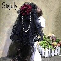 Sisjuly 여성 헤어 액세서리 복고풍 레이스 장미 꽃 진주 모자 파티 머리띠