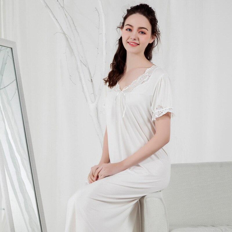 Summer V-neck Skirt Short Sleeved Nightgowns Night Gown Long Modal ...