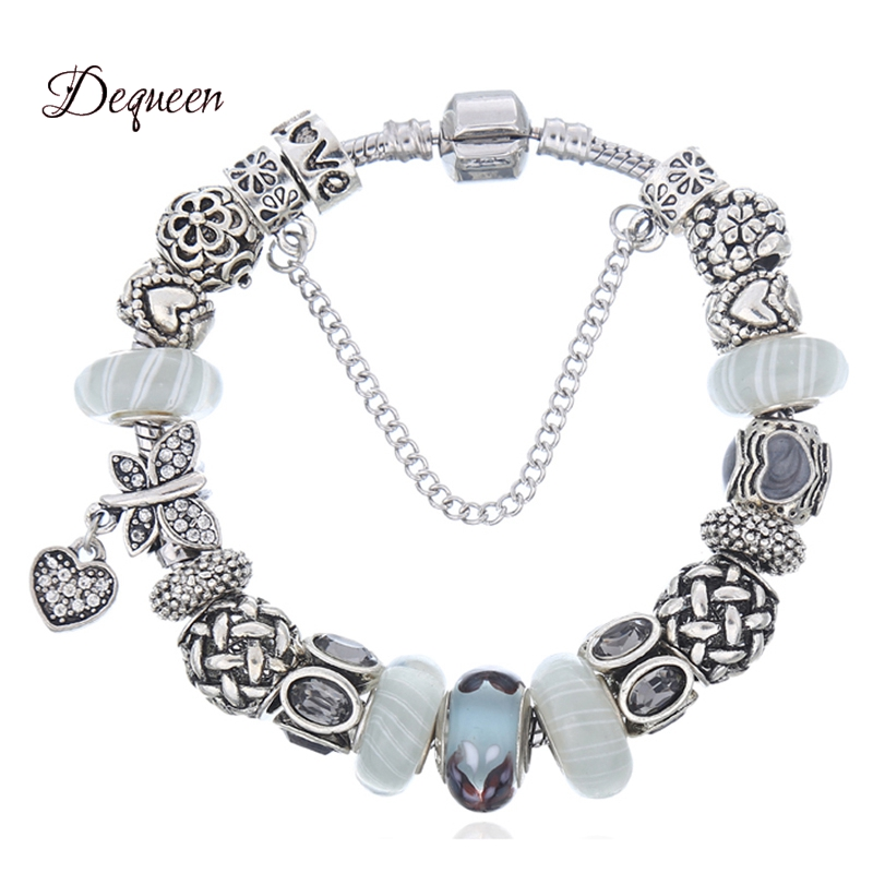 Dequeen Butterfly Charm <font><b>Bracelets</b></font> for Women Silver Beads fit Berloque <font><b>Pan</b></font> <font><b>Bracelets</b></font> & Bangles DIY Jewelry Christmas Gift image