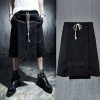 Culottes Summer  Knee-length Pants Capris Breeched Male Casual Pants Costume Loose Fake Two-piece Fashion Nightclub Punk Hip Hop