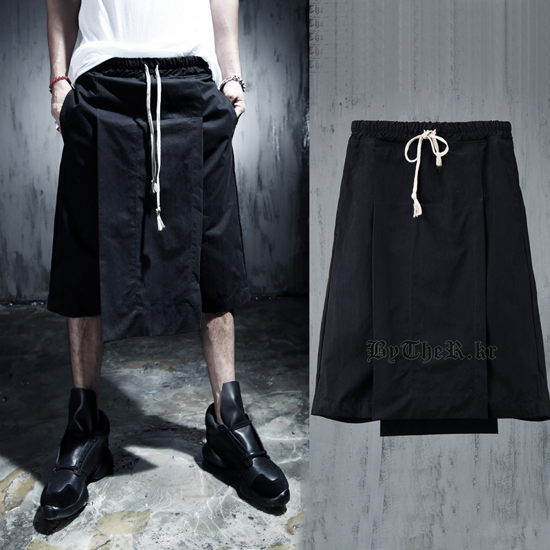 Culottes Summer Knee length Pants Capris Breeched Male Casual Pants Costume Loose Fake Two piece Fashion Nightclub Punk Hip Hop in Cross Pants from Men 39 s Clothing