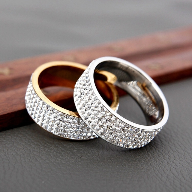 H:HYDE 5 Row Lines Clear Crystal Wedding Rings For Women Fashion Rhinestone Stainless Steel Female Teen Jewelry anillos mujer