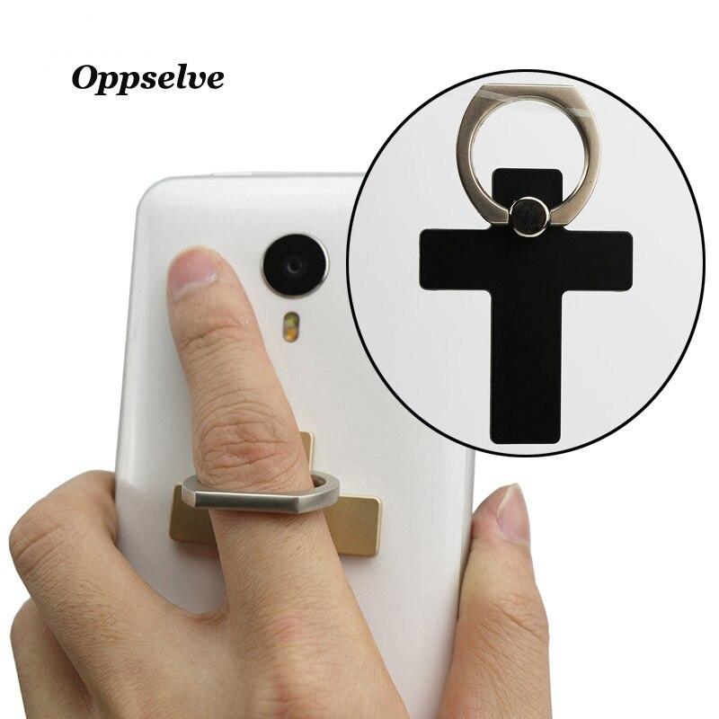 Oppselve Luxury 360 Degree Cross Metal Finger Ring Holder Smartphone Mobile Phone Finger Stand Holder For iPhone X 8 7 6 Samsung
