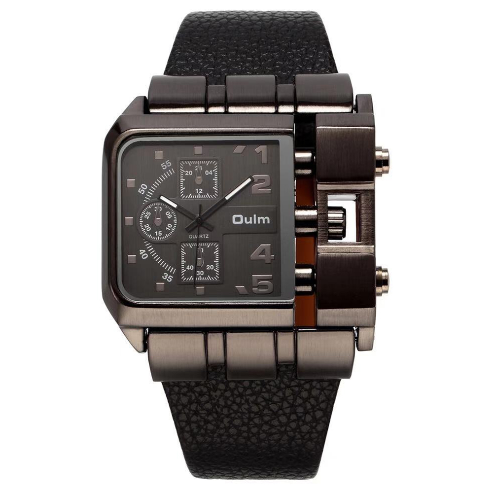 Oulm 3364 militair quartz horloge lederen band rechthoek wijzerplaat Beroemd merk luxe klok heren polshorloge Relogio Masculino heren
