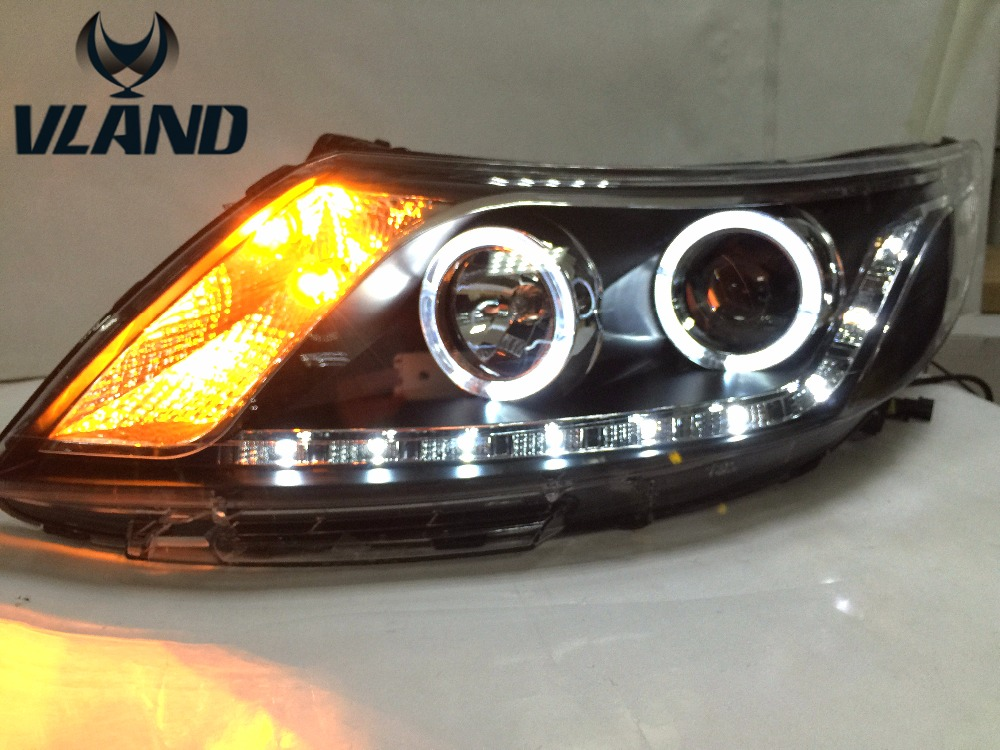 VLAND Factory for Car head lamp for K2 LED Headlight 2012 2013 2014 2015 K2 frontlight with xenon HID projector lens and Day vland 2pcs car light led headlight for jetta headlight 2011 2012 2013 2014 demon eyes head lamp
