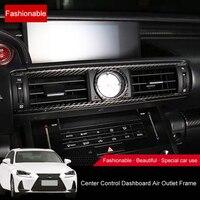QHCP Carbon Fiber Dashboard Central Air Outlet Frame Conditioning Car Quartz Clock Cover Trim Sticker For Lexus IS300 200T 250