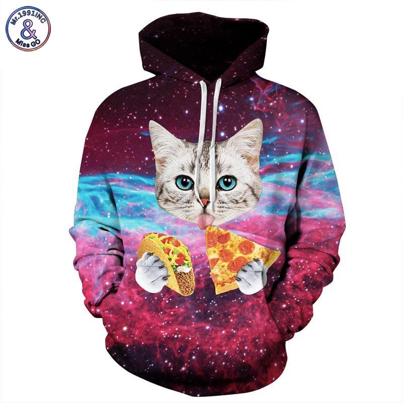 Mr.1991INC Men/Women Hooded Hoodies Print Pizza Cat Space Galaxy 3d Sweatshirts With Hat Autumn Winter Thin Hoody Tops