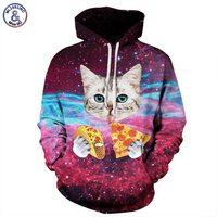 Mr 1991INC Men Women Hooded Hoodies Print Pizza Cat Space Galaxy 3d Sweatshirts With Hat Autumn
