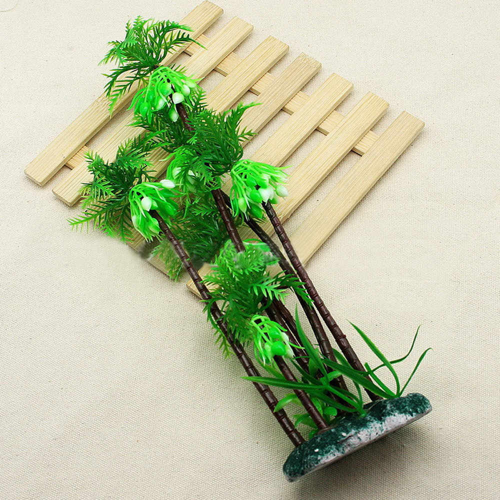 New ,Many Coconut Tree Artificial Plastic Green Underwater Plants For Fish Tank Home Garden Furniture Decor Green