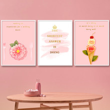 Gohipang Poster Nordic Pink Flower Canvas Painting Wall Art Quotes For Living Room Pictures Posters and Prints Home Decorative romantic nordic flowers poster canvas painting wall art pictures for lving room hd posters and prints pink green home decorative