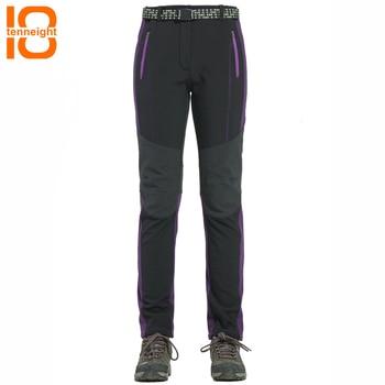 TENNEIGHT Men Winter Fleece Waterproof Outdoor Pants Soft shell Trousers Women Hiking Pants Thermal Ski Pants Trekking Sport