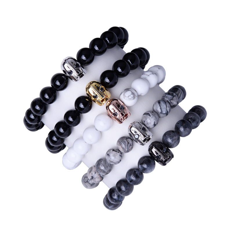 Classic Men Beaded Bracelet Zircon Stone Warrior Head 8MM bead Super High Quality Natural Bead Bracelets
