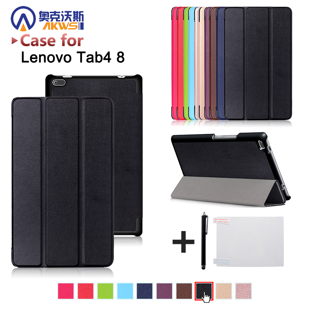 Funda cover case for Lenovo Tab 4 TB-8504F TB-8504N 8 inch Tablet (2017 new release) protective cover skin+free gift magnetic stand smart pu leather cover for lenovo tab 4 8 tb 8504f 8504n 8 0 tablet funda case free screen protector stylus pen