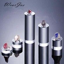 Soporte de exhibición acrílico transparente, redondo, de 5cm de diámetro, para armario, tienda, exposición al por menor, anillo de joyería y cosmético, bloque de soporte para Perfume
