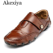 Akexiya 45-47 New Men's Flats Camel Casual Mens Genuine Leather Loafers Shoes Mocassim Masculino Male Sapatos Chaussure Homme