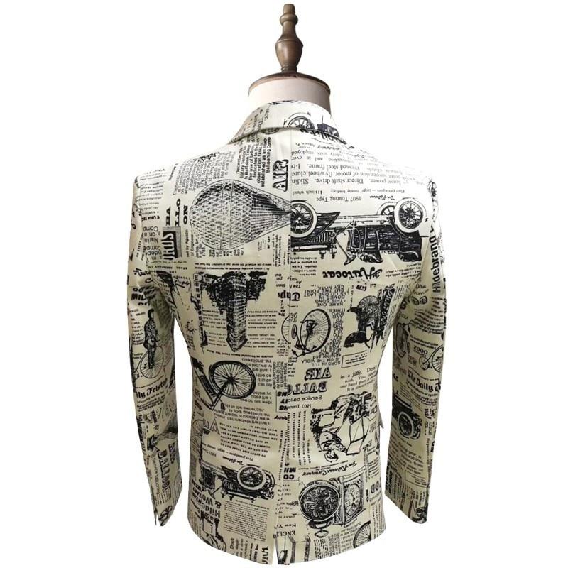 Newspaper Print Blazer Slim Fit Prom Party Club Blazer Men Suit Jacket DJ Host Stage Wedding Designer Blazer Homme 5xl - 2