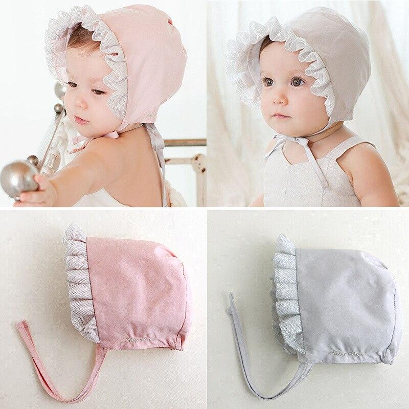 2colors hats cap Ribbon Lace Princess Elves Noble Cotton Photography Spring hats  girls boys Infant Newborn baby sun hat 92724be8277