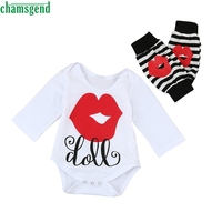 CHAMSGEND White Newborn Kids Baby Girls Outfits Clothes O Neck Full Cotton Letter Print Romper Tops