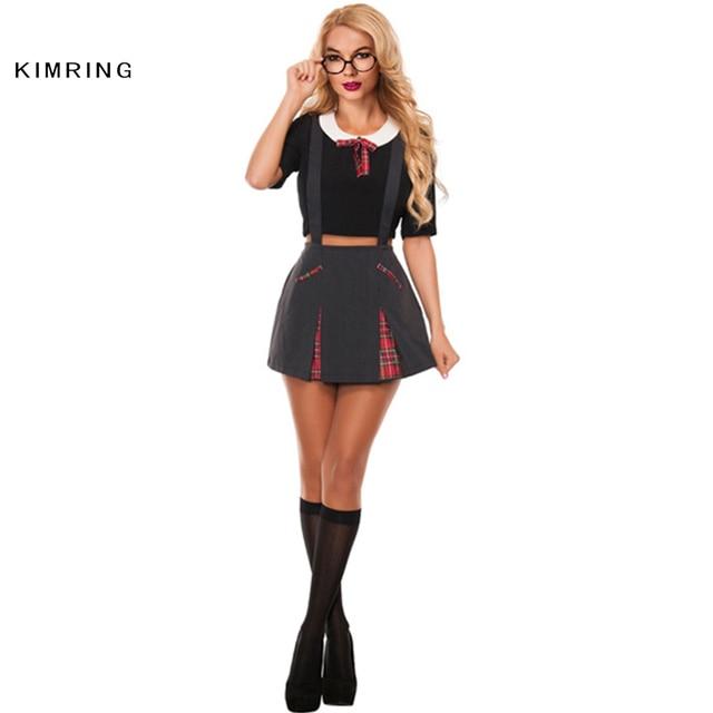 Kimring Sexy School Girl Costume Halloween Adult Role Play Games Uniform Students Dress Woman Cosplay Erotic