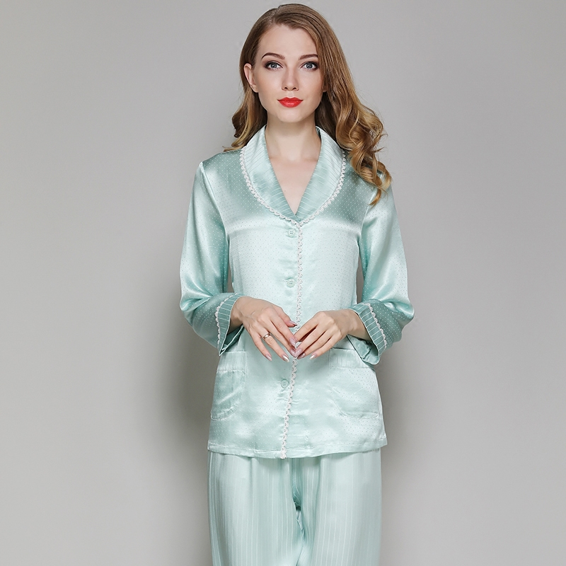 Elegant luxury Silk Pajamas For Women2019new Solid Green pyjamas women Full SleeveLounge Pajama Sets Silk Satin Pijama Feminino