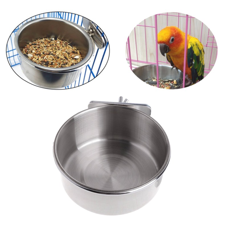 Bird Feeder Parrot stainless parrot food box Stainless Steel Cups Container new font b pet b