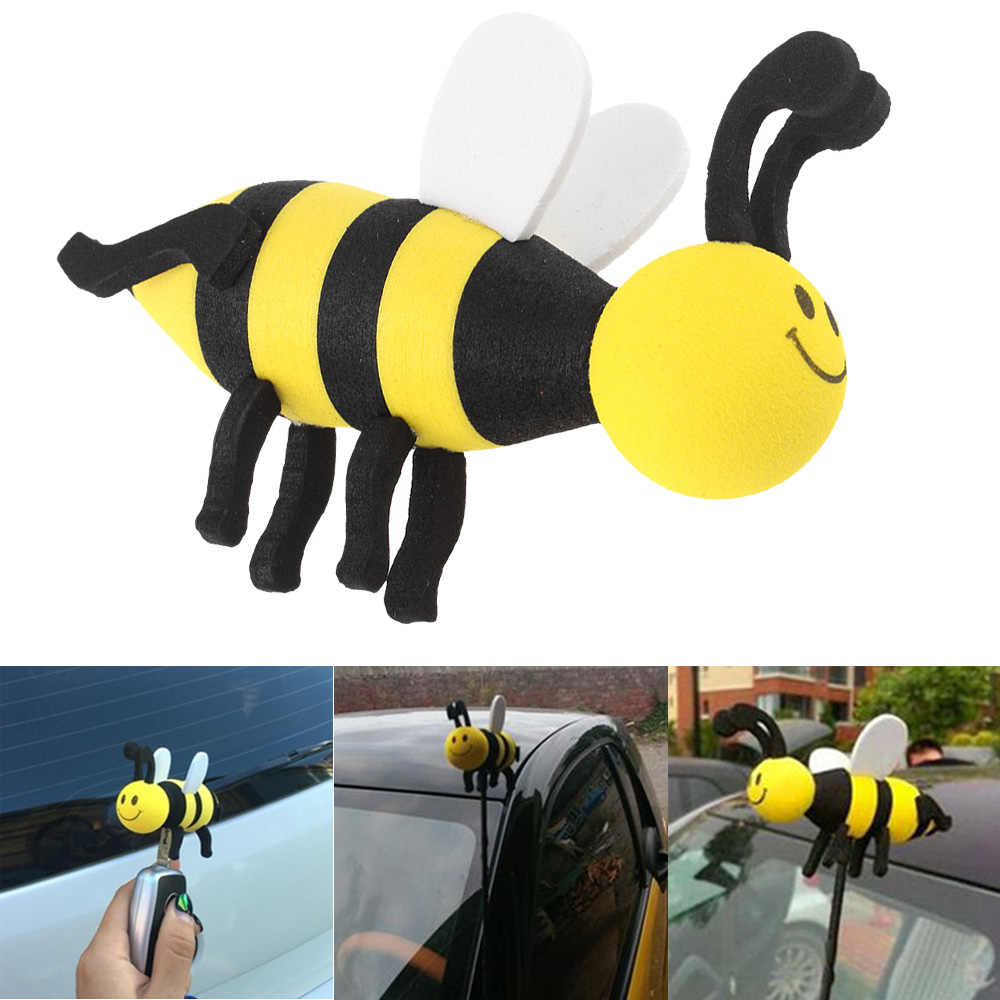 Cute Car Antenna Toppers Lovely Smiley Honey Bumble Bee Aerial Balls Antenna Topper Auto Exterior Vehicle Roof Decor