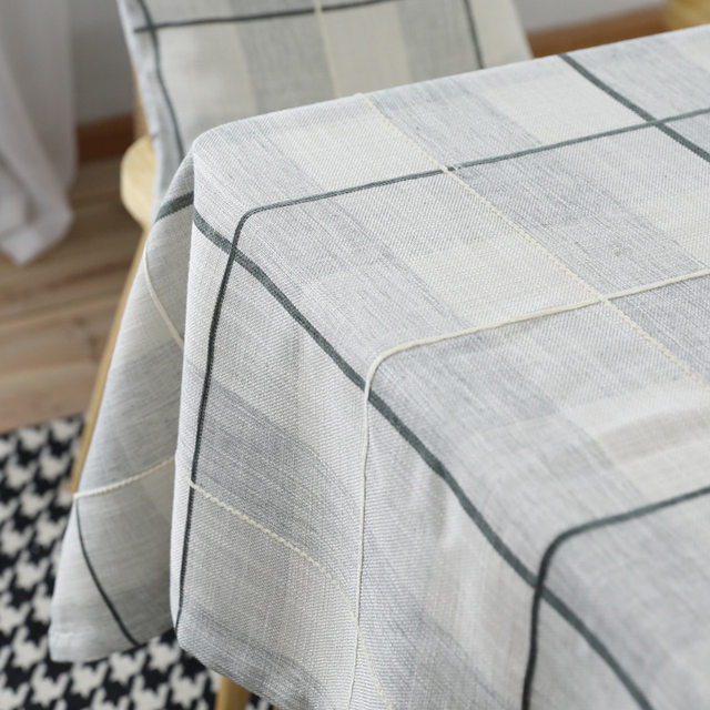New Modern Cotton Linen Table Table Cloth Simple Lattice Rectangular Table  Cloth Japanese Plain Table Cloth