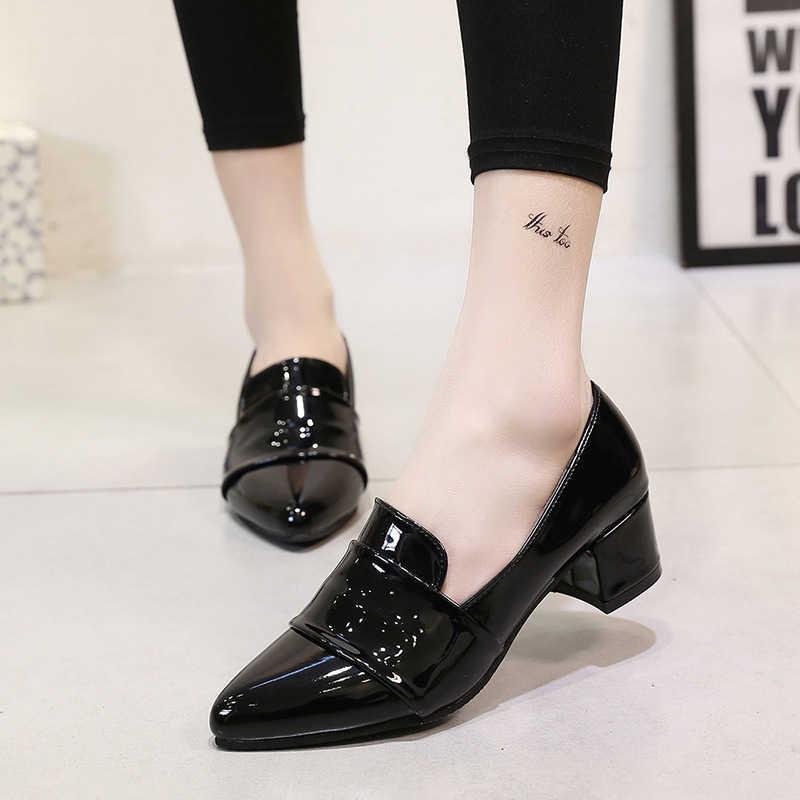 Tangnest Yeni Moda Med Topuklar Oxfords Kadın Pompaları Sivri Burun Düz Ayakkabı Kadın Bayanlar Rahat Iş Giyen Ayakkabı XWD6716