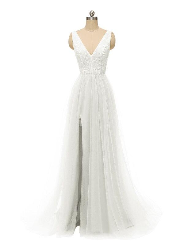 Сексуальное вечернее платье с v-образным вырезом, с бусинами, с открытой спиной, а-силуэт, Длинные вечерние платья, вечерние платья с высоким разрезом, фатиновые платья для выпускного вечера - Цвет: Слоновая кость