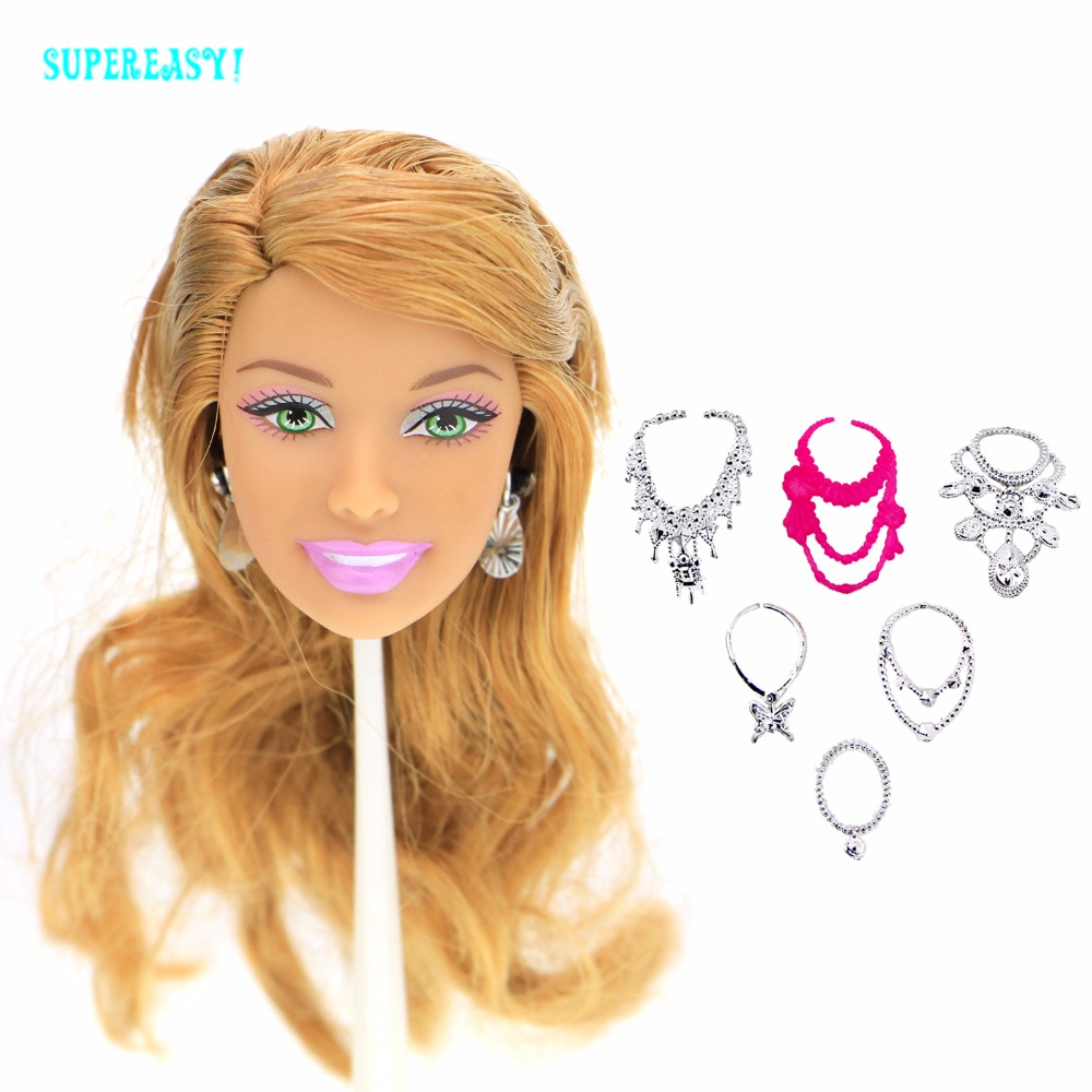 8 Pcs = 1x High Quality Doll Head Brown Curly Hair + Random 6x Chain Necklaces + 1x Earrings For 12 Doll Accessories Kids Toys