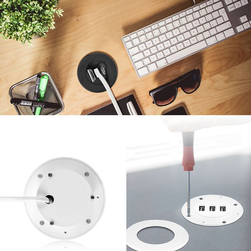 5cm Grommet Hole In-Desk Mounting 3 Ports USB 2.0 Hub For Laptop PC Computer