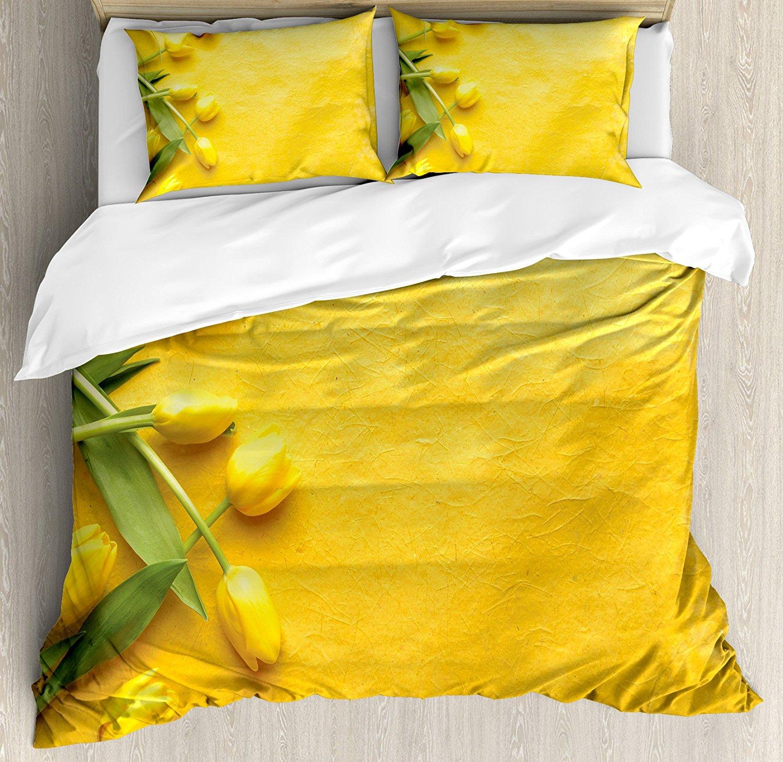 Yellow Duvet Cover Set Danish Dutch Tulips on Colored Wall Gardening ...